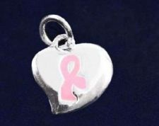 Buy Breast Cancer Awareness Pink Ribbon Puffed Heart Charm