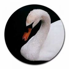 Buy White Swan Round Computer Mousepad Mouse Pad
