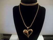 Buy Fashion Gold Tone small Bead link Necklace with Large Heart pendant