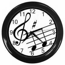 Buy Music Notes Treble Clef Art Bar Studio Wall Clock