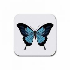 Buy Blue Butterfly Art Set Of 4 Square Rubber Coasters