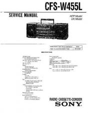 Buy Sony CFS-W455[2] Service Manual by download Mauritron #239021