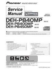 Buy Pioneer DEH-P8400MP-2 Service Manual by download Mauritron #233743