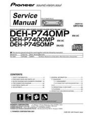 Buy Pioneer DEH-P7400MP-2 Technical Manual by download Mauritron #232528