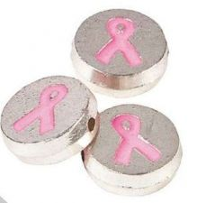 Buy Breast Cancer Awareness 12mm Round Ribbon Beads Charms Necklace Bracelet -12 pc