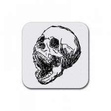 Buy Screaming Human Skull Goth Art Set Of 4 Square Rubber Coasters