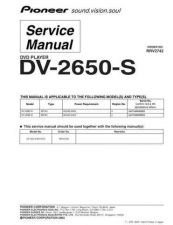 Buy Pioneer DV-2650-S-3 Service Manual by download Mauritron #234019