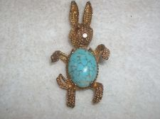 Buy Vintage Gold tone Hare Bunny Rabbit Robin Egg stone Belly Brooch/pin
