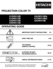 Buy Hitachi 61SWX12B 61UWX10BA Service Manual by download Mauritron #263249