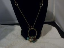 Buy Signed RACHEL long gold tone necklace with COIN pendants