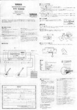 Buy Yamaha YT1000 EN Operating Guide by download Mauritron #250440