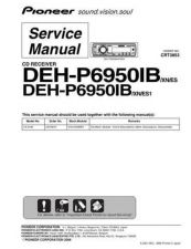 Buy Pioneer DEH-P6950IB-2 Technical Manual by download Mauritron #232459