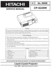 Buy Hitachi 220W Service Manual by download Mauritron #260179