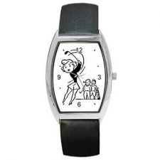 Buy Golf Woman Golfing Retro Golfer Art Barrel Wrist Watch