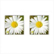 Buy White Daisy Flower Square Cufflinks