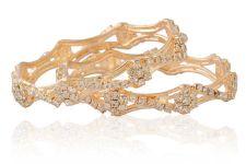 Buy Gold tone floral cz crystal 2pc bangle bracelet k12