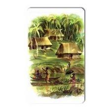 Buy Jungle Huts Lagoon Retro Travel Art Vinyl Magnet