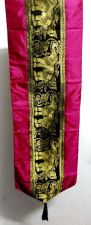 Buy TABLE RUNNER SILK ELEPHANT MAGENTA GOLD PATTERN TABLECLOTH HOME DECORATIVE