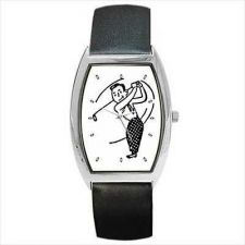 Buy Playing Golf Retro Style Cartoon Man Wrist Watch