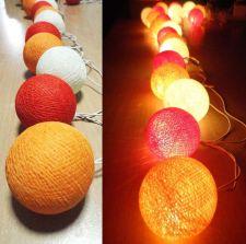 Buy ORANGE IVORY 20 COTTON BALL STRING LIGHTS WEDDING PARTY HOME GARDEN DÉCOR
