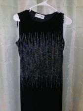 Buy Long Black Velour Dress With Beautiful Classy Sequins size Petite Small