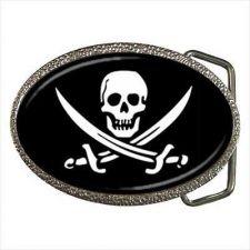 Buy Pirate Skull Crossed Swords Unisex Black Belt Buckle