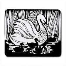 Buy White Swan Babies Waterfowl Art Computer Mouse Pad