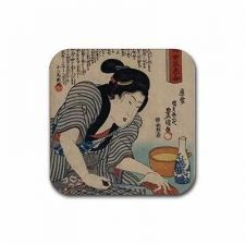 Buy Japanese Woman Sake Cooking Art Set Of 4 Square Rubber Coasters