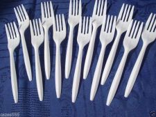 Buy 100 PARTY FORKS, BBQ'S, PICNIC, ASSORTED PLASTIC CUTLERY DISPOSABLE CATERING