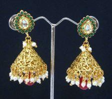 Buy Filigree ruby green kundan long dangle earring e19