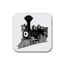 Buy Steam Train Locomotive Set Of 4 Square Rubber Coasters