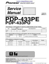 Buy Pioneer PDP-433MXE (2) Service Manual by download Mauritron #234907