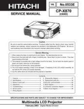 Buy Hitachi CP-X935W Service Manual by download Mauritron #261146
