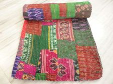Buy new Indian hand made kantha quilt patola rally throw bed cover gudari bedspread