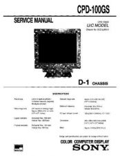 Buy Sony CPD-100GS Service Manual by download Mauritron #239248