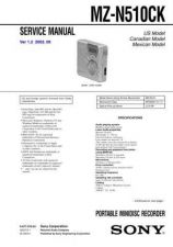 Buy Sony MZ-N510CK Service Manual by download Mauritron #232257
