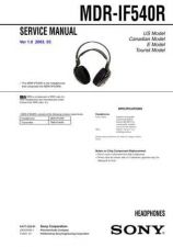 Buy Sony MDR-IF540R Service Manual by download Mauritron #232203