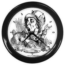 Buy Mad Hatter Alice In Wonderland Black White Wall Clock