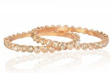 Buy Gold tone big cz crystal 2pc bangle bracelet k9 sz 2.8
