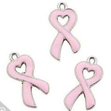 Buy Breast Cancer Awareness Enamel Pink Ribbon Charms Necklace Bracelet -12 pc