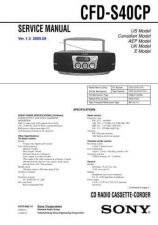 Buy Sony CFD-S40CP. Service Manual by download Mauritron #238836