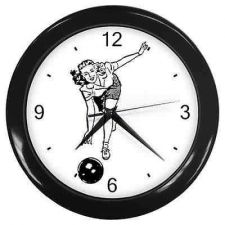 Buy Wall Clock Bowling Retro Woman Art