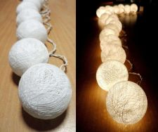 Buy LIGHT PURE WHITE 20 COTTON BALLS STRING LIGHTS HOME PARTY WEDDING GARDEN DÉCOR