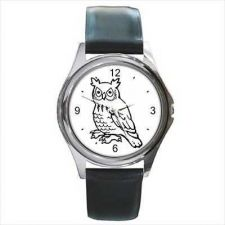 Buy Great Horned Owl Cartoon Bird Unisex Round Wrist Watch