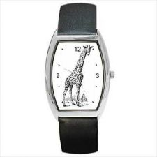 Buy Giraffe Unisex Black and White Barrel Shaped Wrist Watch New