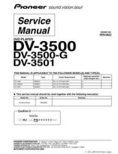 Buy Pioneer DV-3500-G-2 Service Manual by download Mauritron #234127