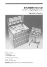 Buy STUDER D820 MCH Operating Guide E by download Mauritron #314635