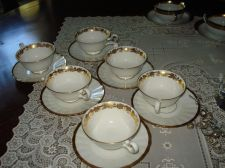 Buy LOT 10 LIMOGES & WEDGWOOD CUP & SAUCERS White With Heavy Gold 1902 Set of 5
