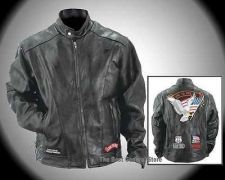 Buy Mens Live to Ride Black Leather Motorcycle Biker Jacket with Patches & Nylon Lining