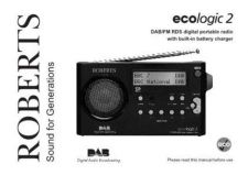 Buy Roberts ecologic2 DAB Radio Operating Instruction Guide by download Mauritron #306657